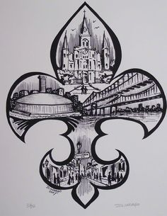Drawn sign new orleans Artist Google David skyline famous