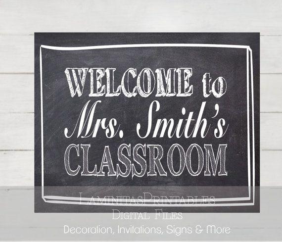 Drawn sign teacher name Name Teacher door Teacher Classroom