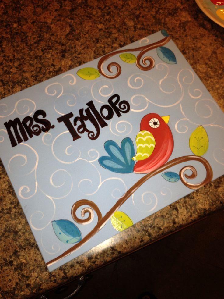 Drawn sign teacher name Teacher best canvas on canvas