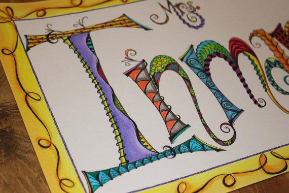 Drawn sign teacher name Gift Name of Teacher Appreciation