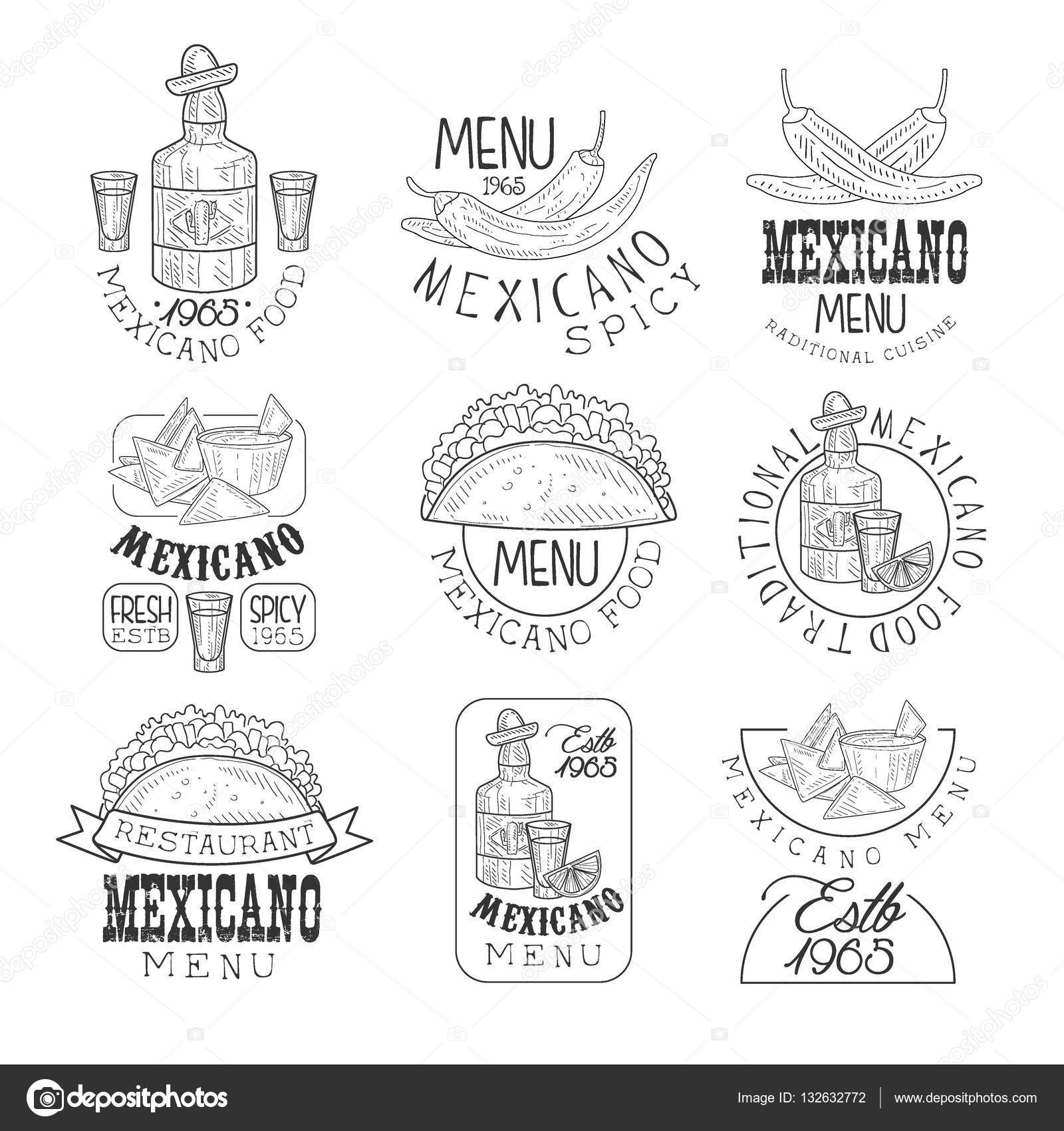 Drawn sign traditional Mexican Restaurant Set  Cuisine