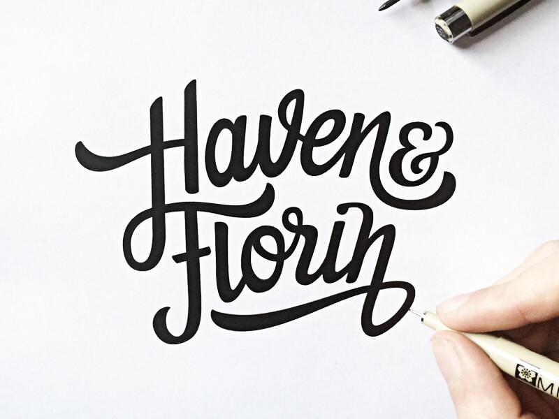 Drawn sign typographic Beautifully Logos Von Hand Logos