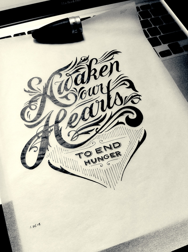 Drawn sign typographic The Serif Typography Hand drawn