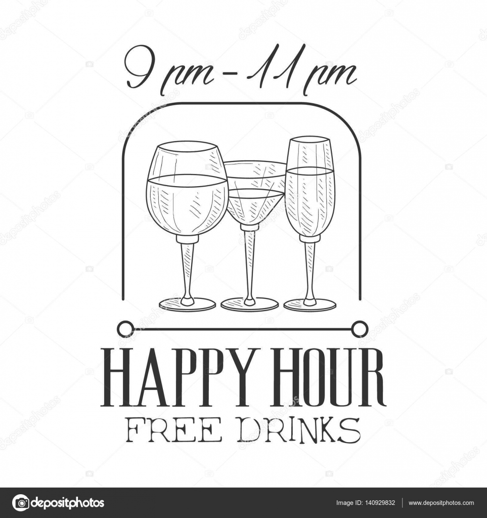Drawn sign wine Happy Happy Sketch Hipster Promotion