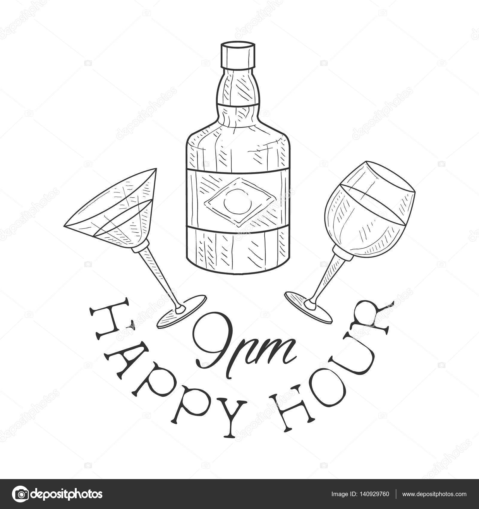 Drawn sign wine Illustration Happy Sketch Hand Promotion