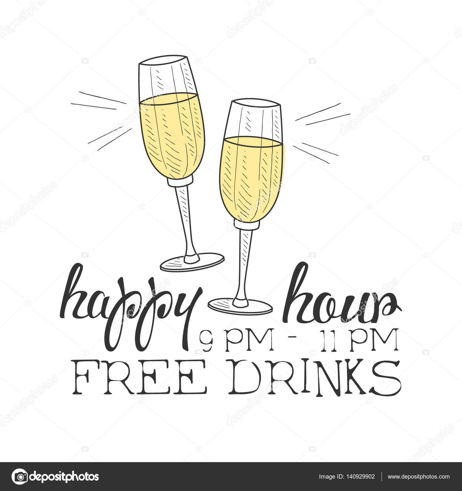 Drawn sign wine Promotion Happy Sketch Promotion Bar