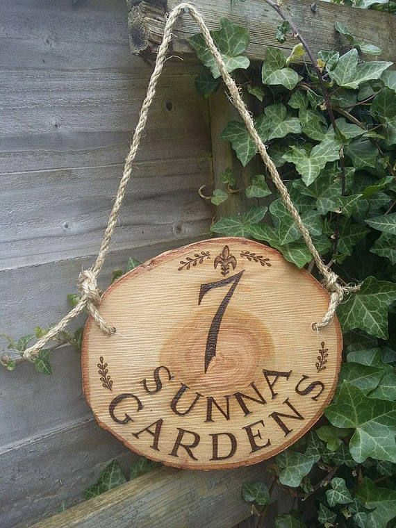 Drawn rope wooden sign Drawn Rustic Personalised Wood Hanging