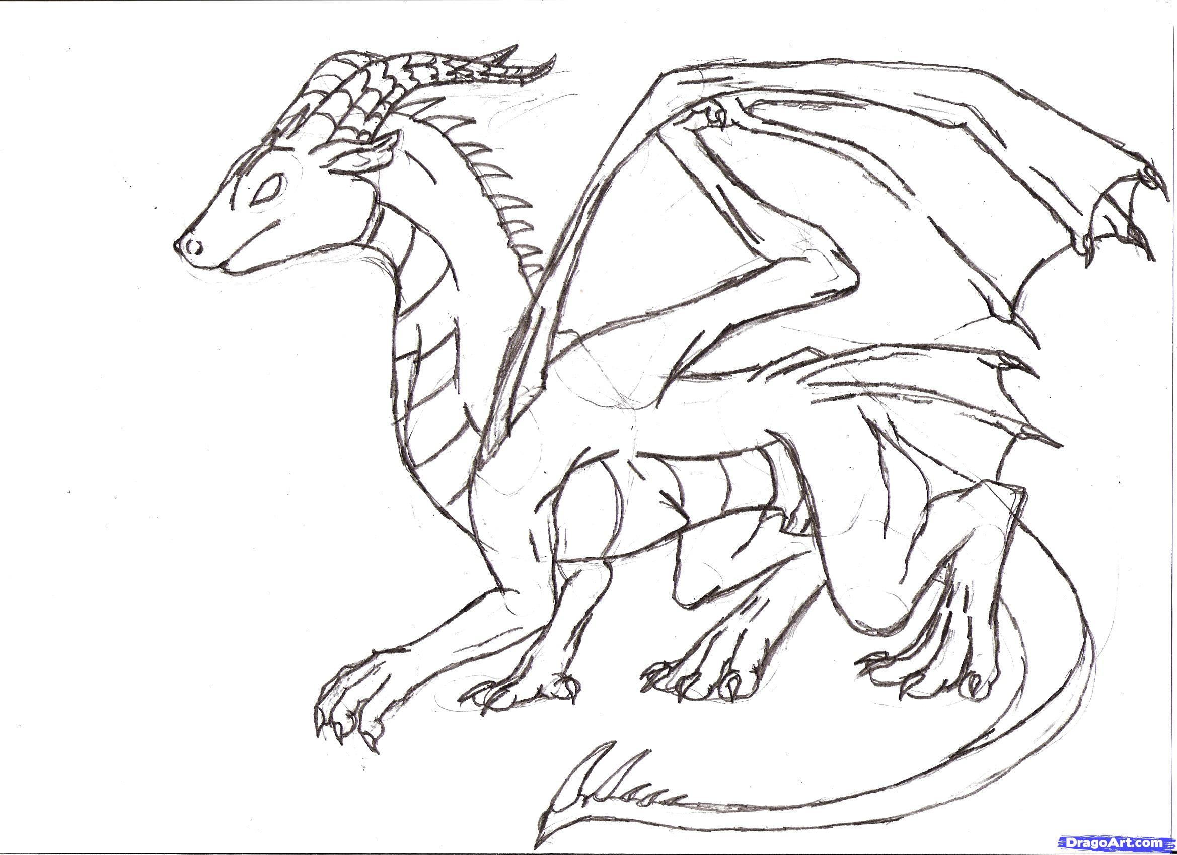 Drawn simple dragon To Draw 6 Step How