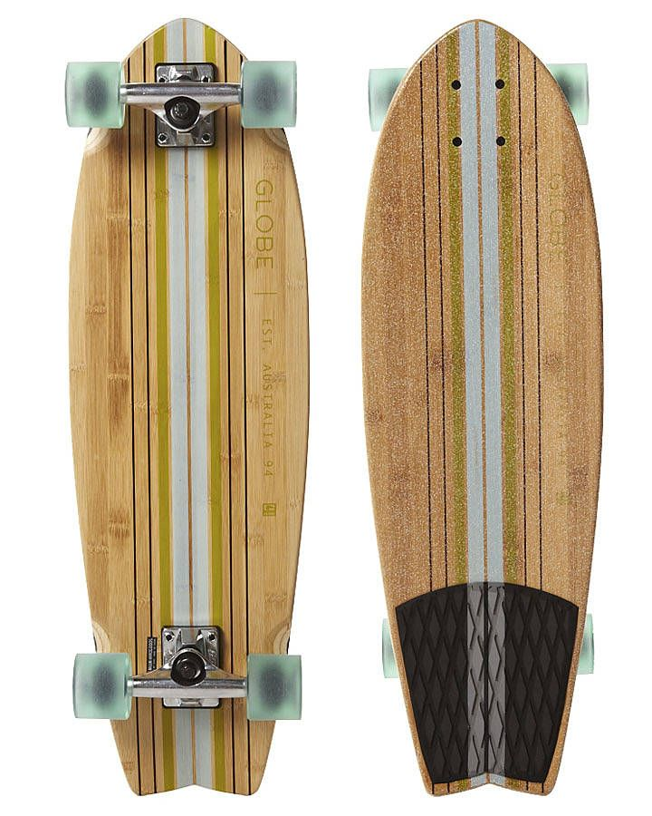 Drawn skateboard plywood GLOBE and Surf PIN about