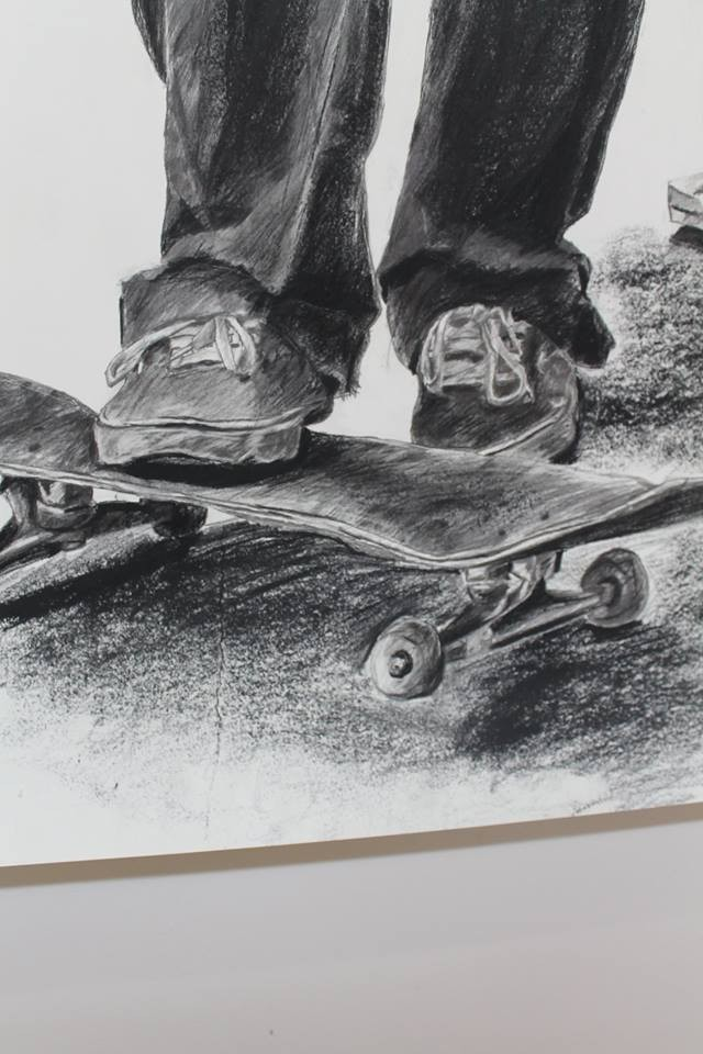 Drawn skateboard realistic Charcoal Artvilla Skateboard drawing Skateboard