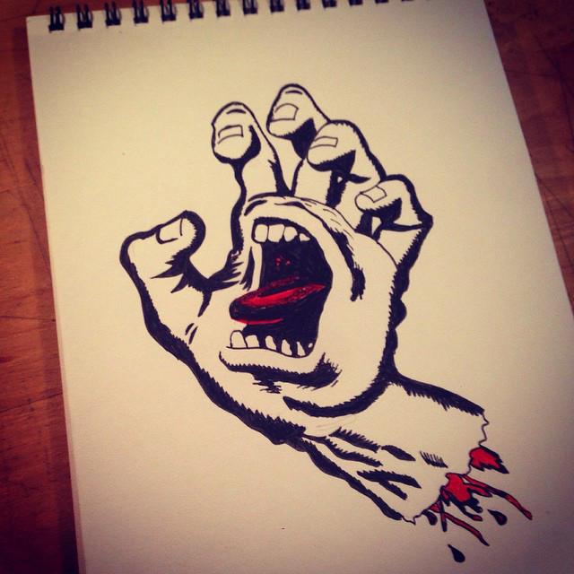 Drawn skateboard screaming hand #skateboarding #tattoo #pen #arthk #hkinsta