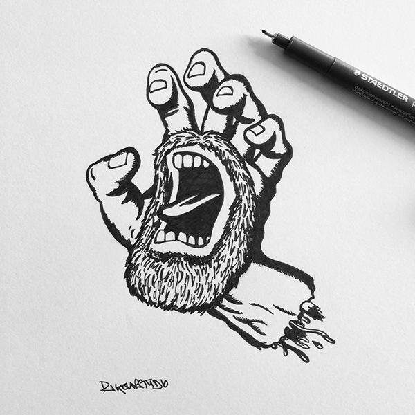 Drawn skateboard screaming hand By Rigour Rigour Studio Hand