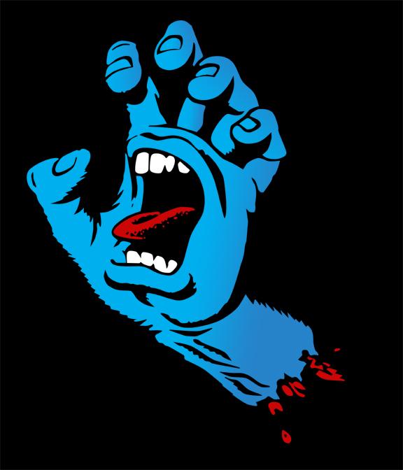Drawn skateboard screaming hand Phillips Jim art Jim phillips