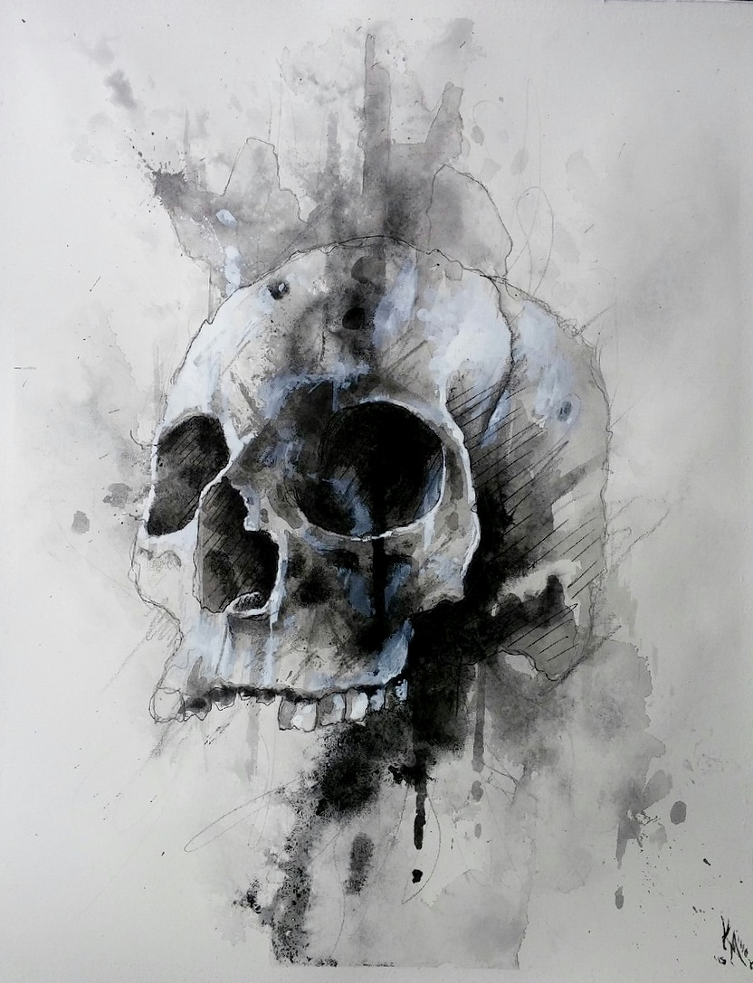 Drawn skeleton abstract 14in drip art paper on