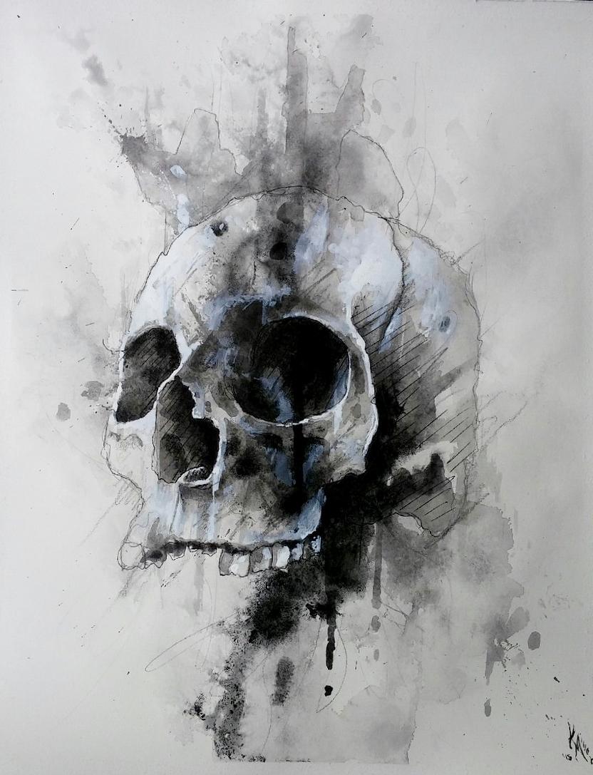 Drawn skeleton abstract Media/watercolor 14in drip skull