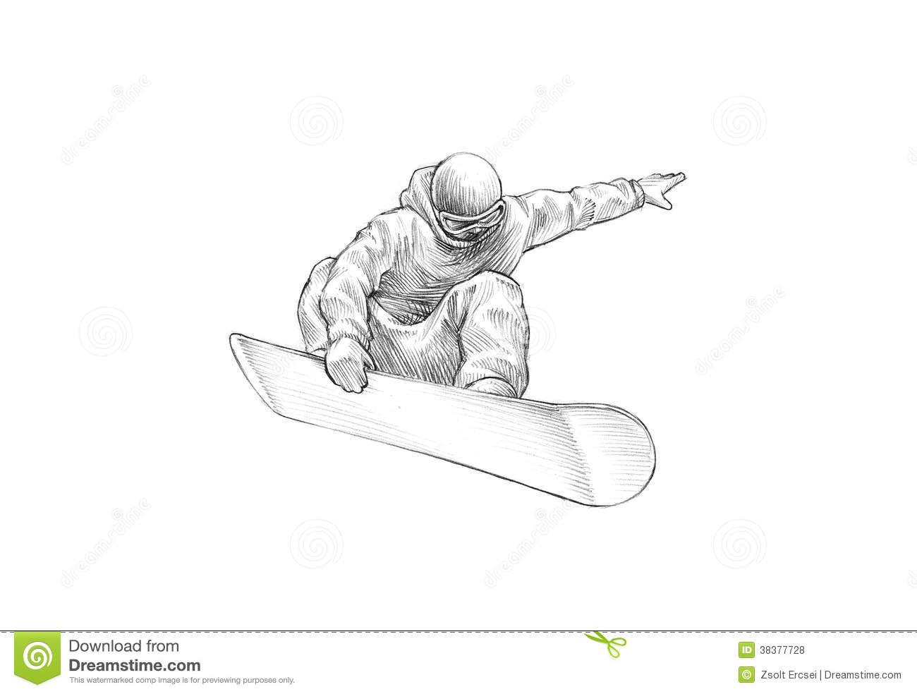 Drawn sketch Snowboarder pencil drawn drawn hand