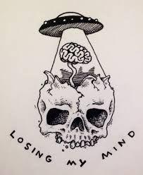 Drawn skull alien Skull #alien #moon #drawing ufo