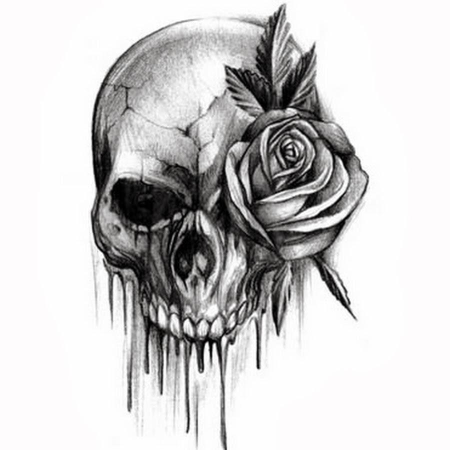 Drawn skull designer Black for  skull rose