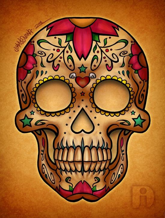 Drawn sugar skull dia de los muertos The of los lee of