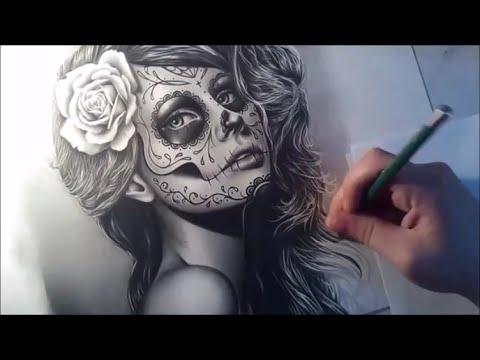 Drawn skull female skull Speed Sugar Realistic Sugar Girl