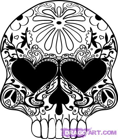 Drawn sugar skull step by step How a a design Step
