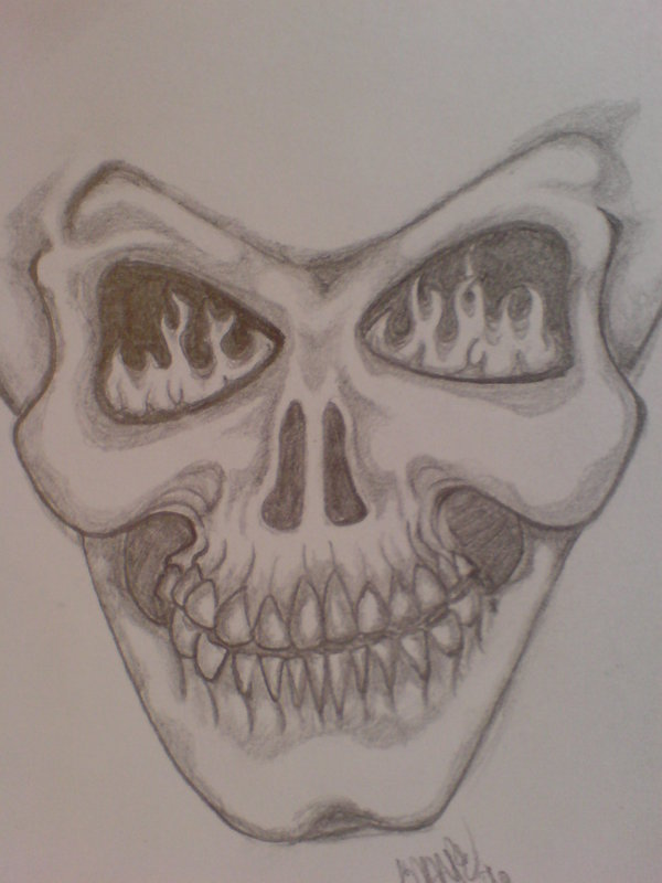 Drawn skull on fire By Skull Fire skyecotic skyecotic