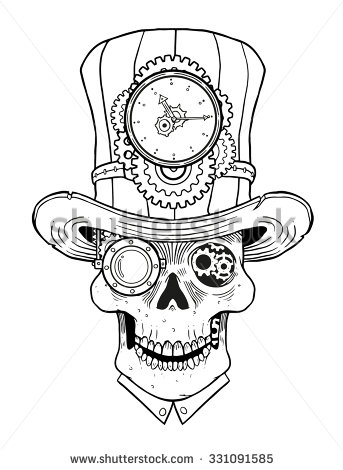 Drawn skull steampunk On Perm body Pinterest steampunk