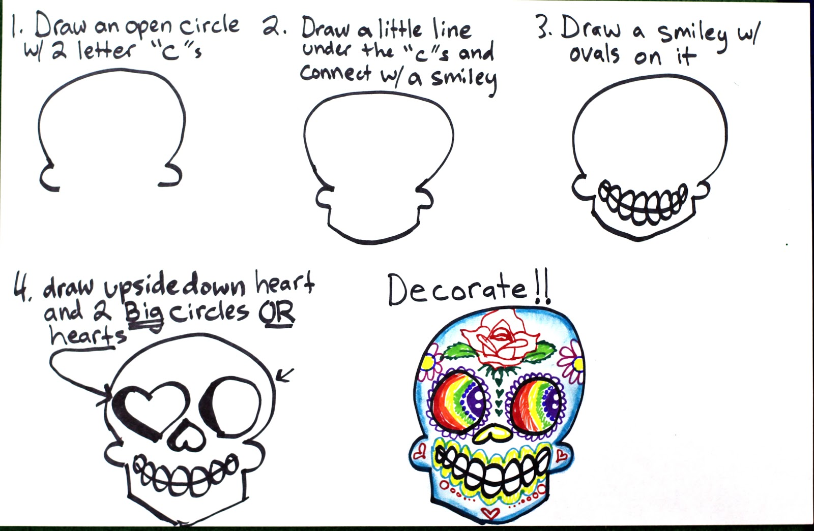 Drawn sugar skull step by step Super Step by Skulls Drawing