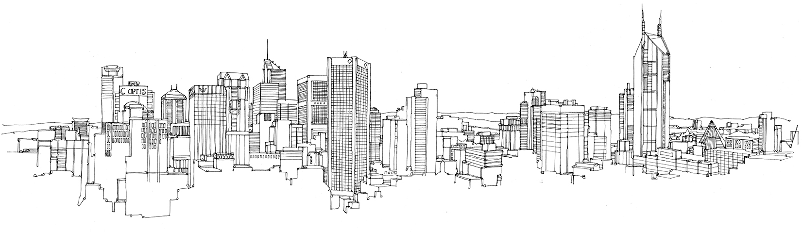 Drawn skyline London Lumpur pen melbourne City