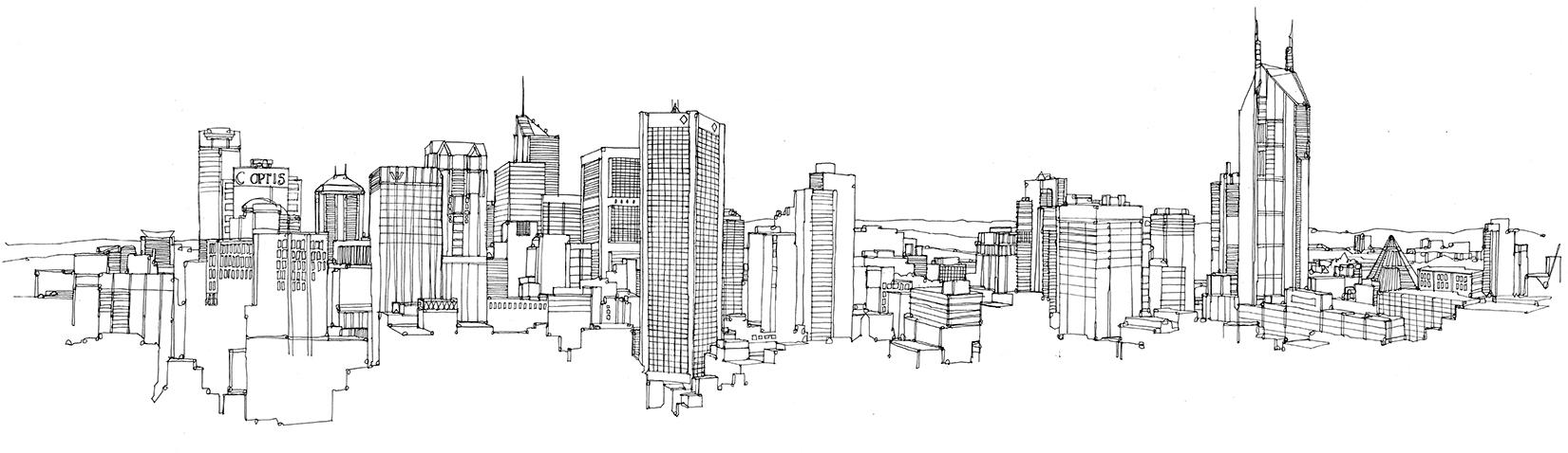 Drawn skyline #14