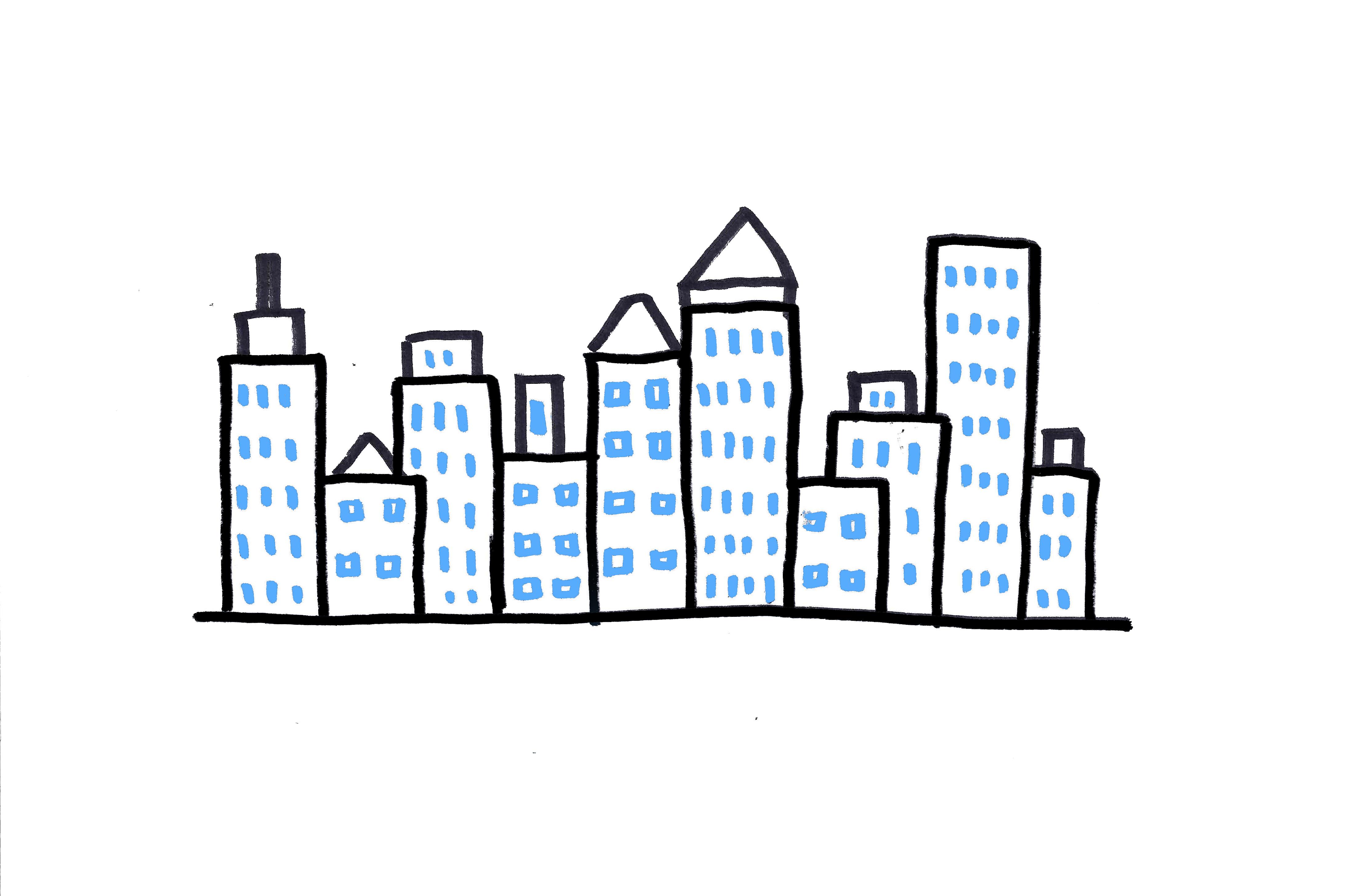 Drawn skyline City Ways How Skyline to