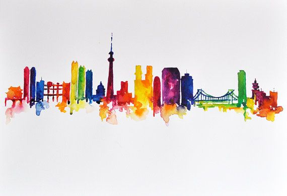Drawn skyline abstract Painting ORIGINAL Skyline  Abstract