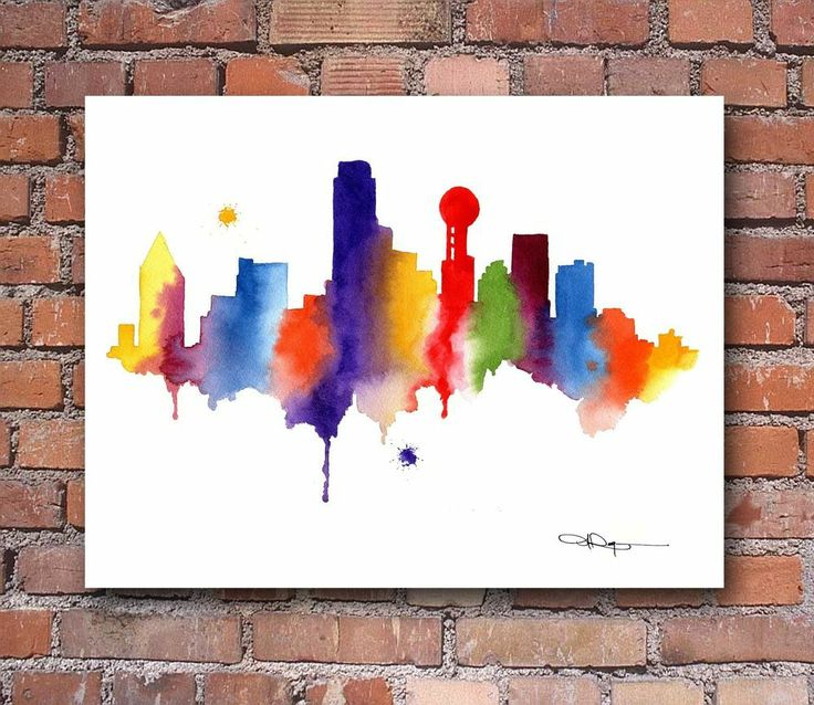 Drawn skyline abstract Painting on Pinterest ideas Rogers