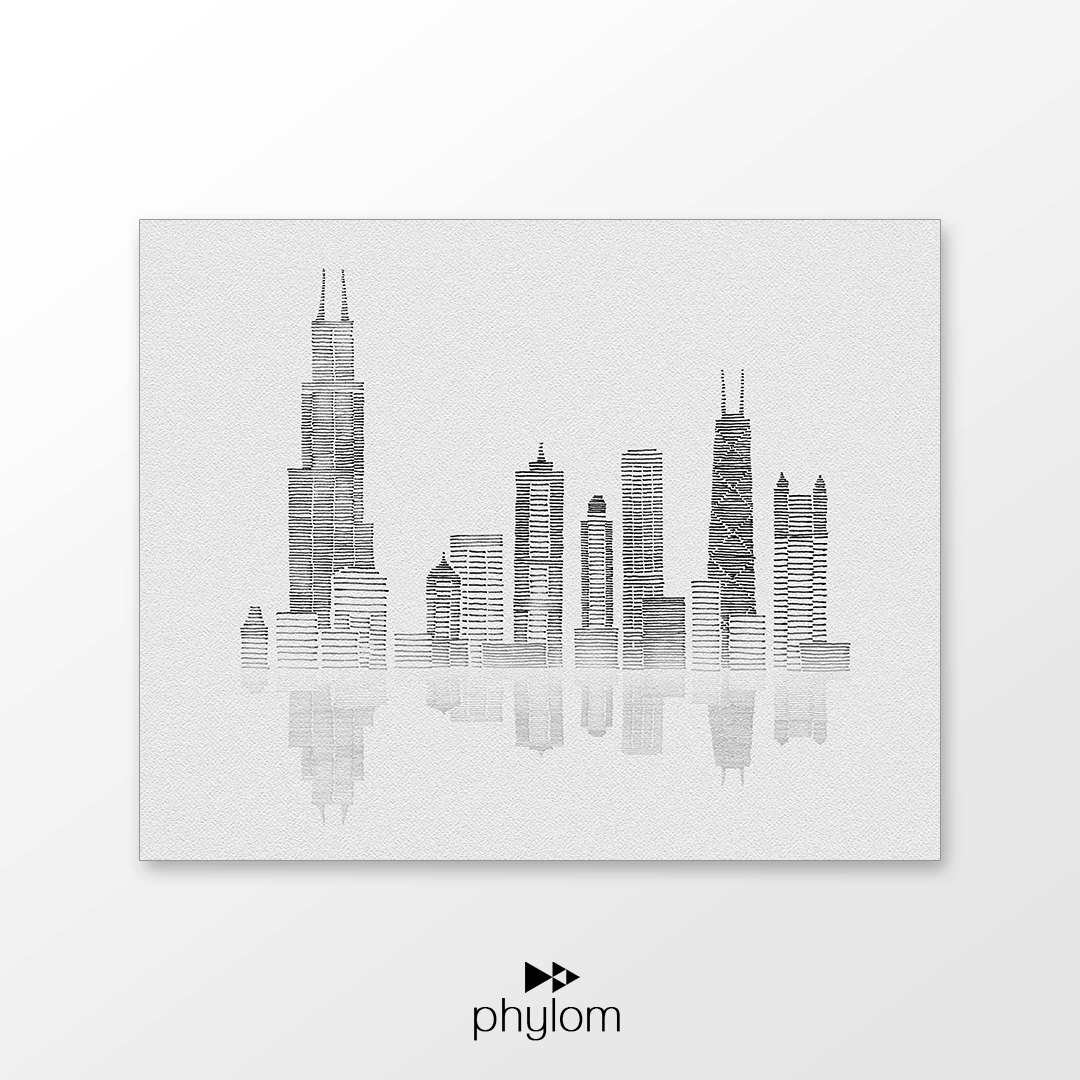 Drawn skyline abstract Hand Etsy drawing Chicago printable