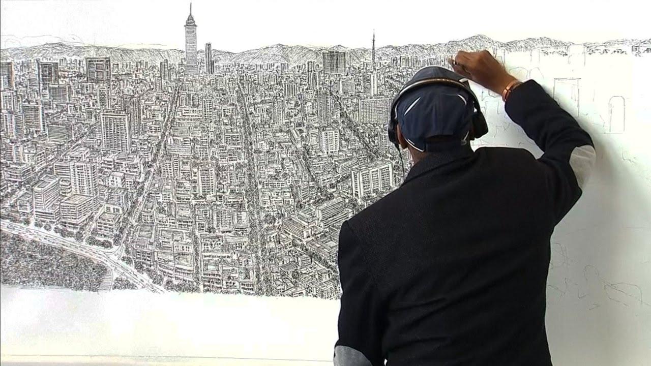 Drawn skyline autism Skyline artist Stephen memory drawing