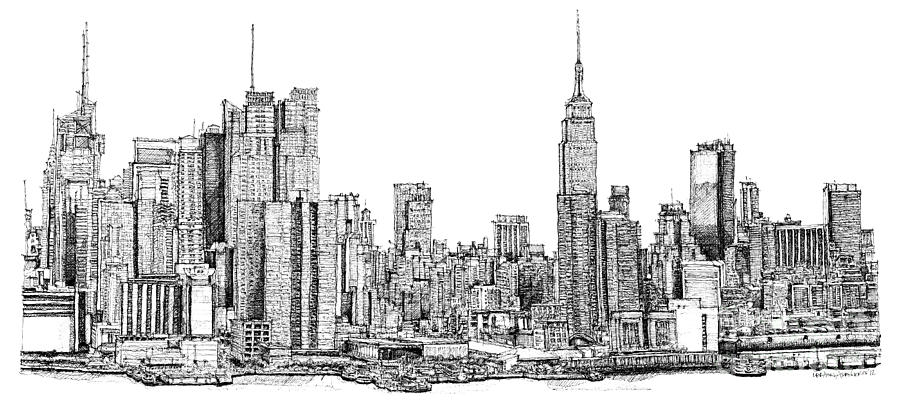 Drawn skyline black and white Drawing York America Drawings Ink