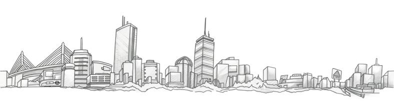 Drawn skyline black and white Boston skyline Tattoo and boston