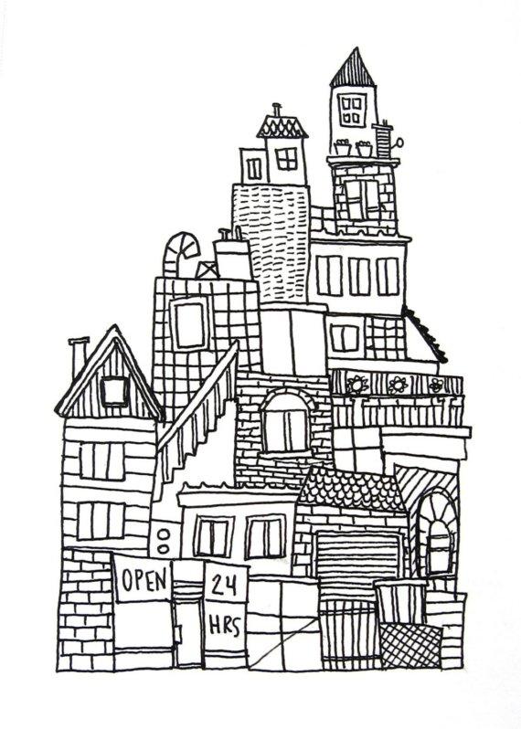 Drawn skyline black and white On ink row black buildings