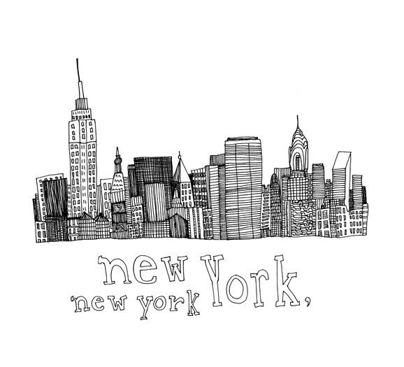 Drawn skyline black and white Drawing skyline pen drawing brooklyn