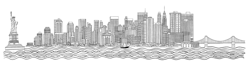 Drawn skyline black and white Manhattan skyline Tattoo and manhattan