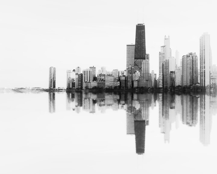 Drawn skyline black and white Black Chicago Art  Abstract