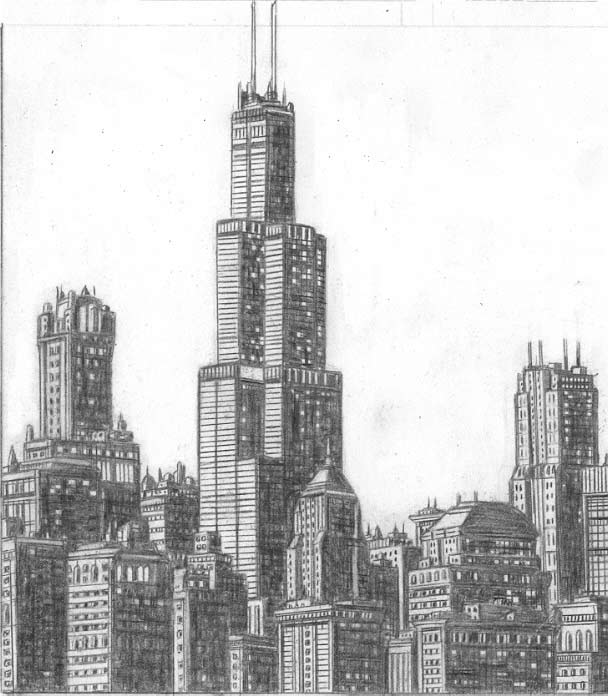 Drawn skyline black and white Sears Chicago Skyline  Sears