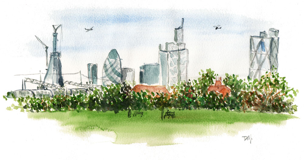 Drawn skyline city landscape Rarely London render I landscapes