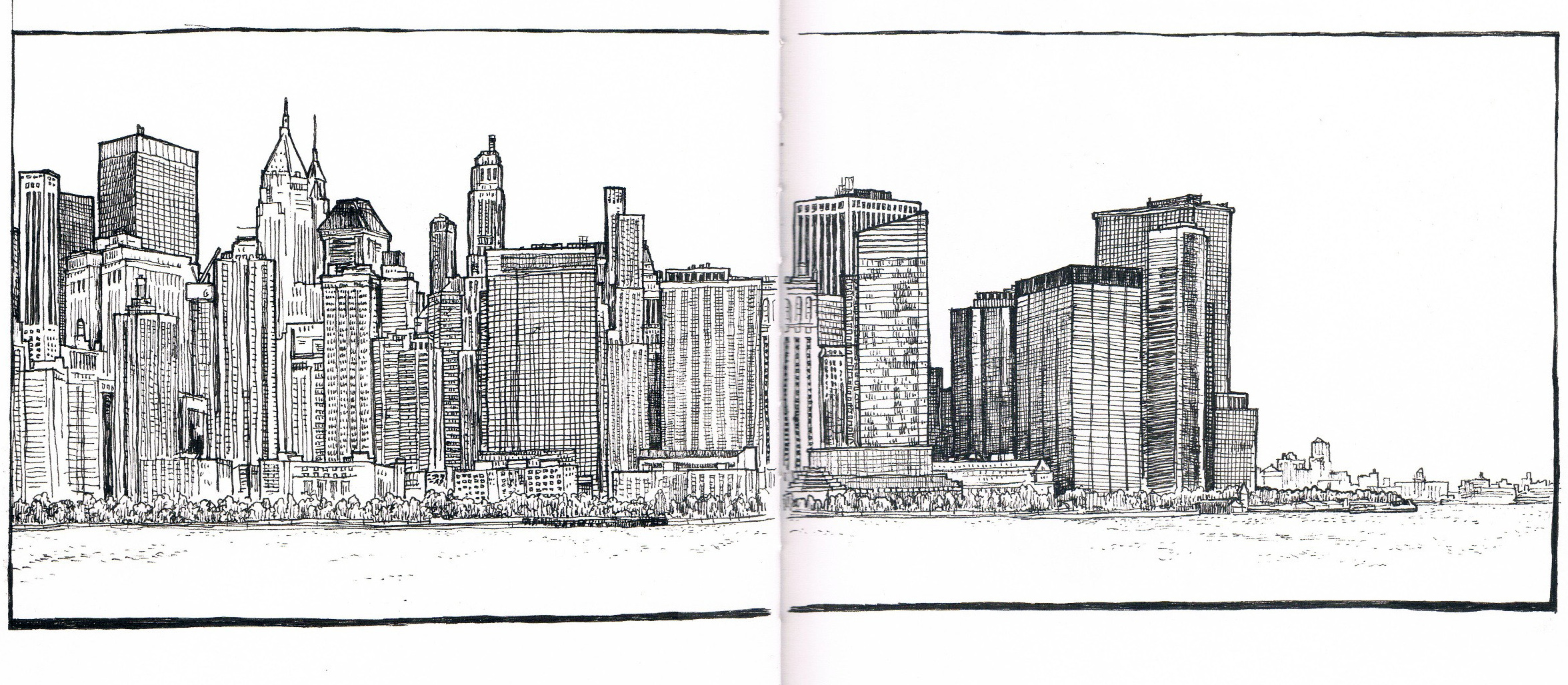 Drawn skyline city landscape Page Handmade Notes Manhattan Ransom
