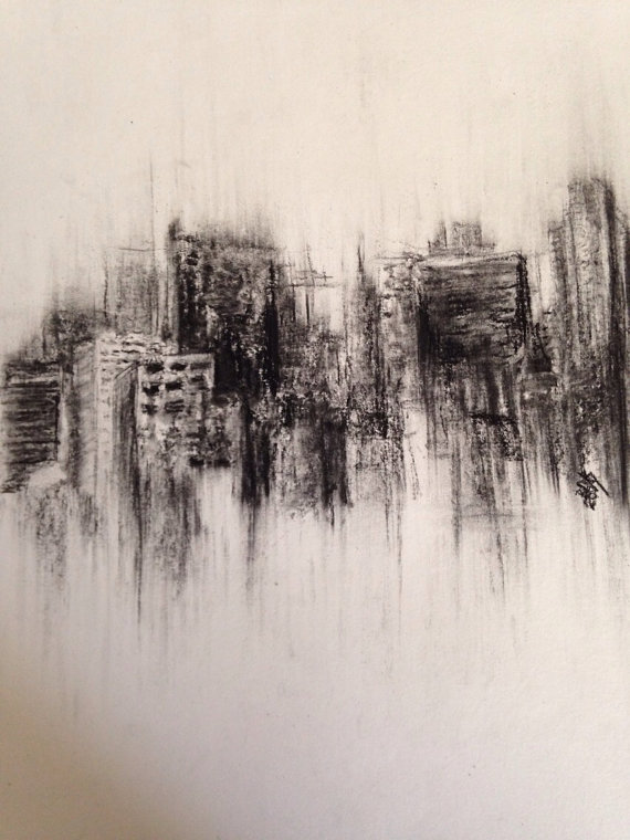 Drawn skyline city landscape Landscape original Etsy on drawing