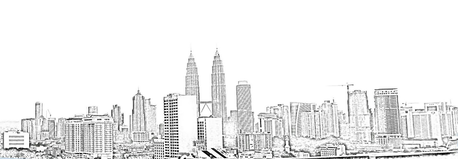 Drawn skyline city landscape Skyline silhouette Line city Research