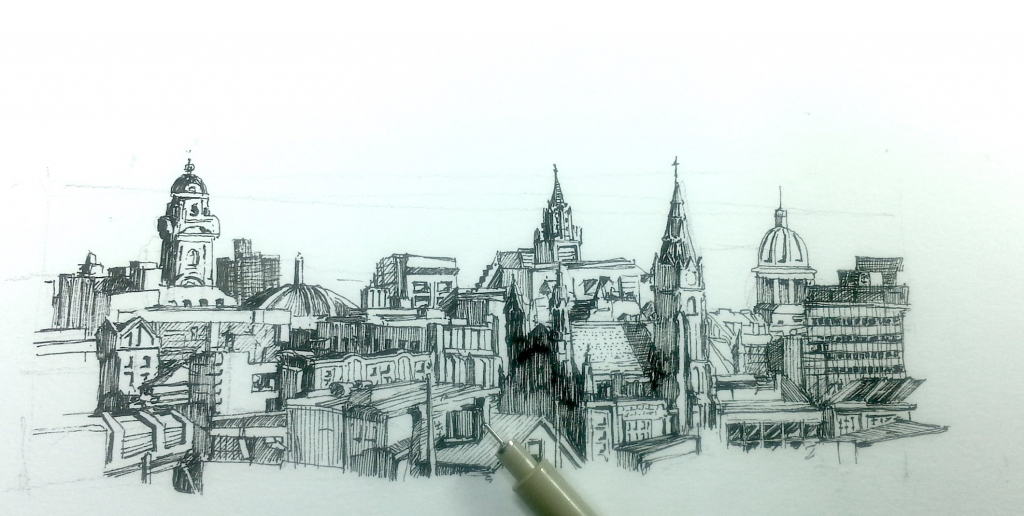 Drawn skyline city landscape Draw Drawing City To City