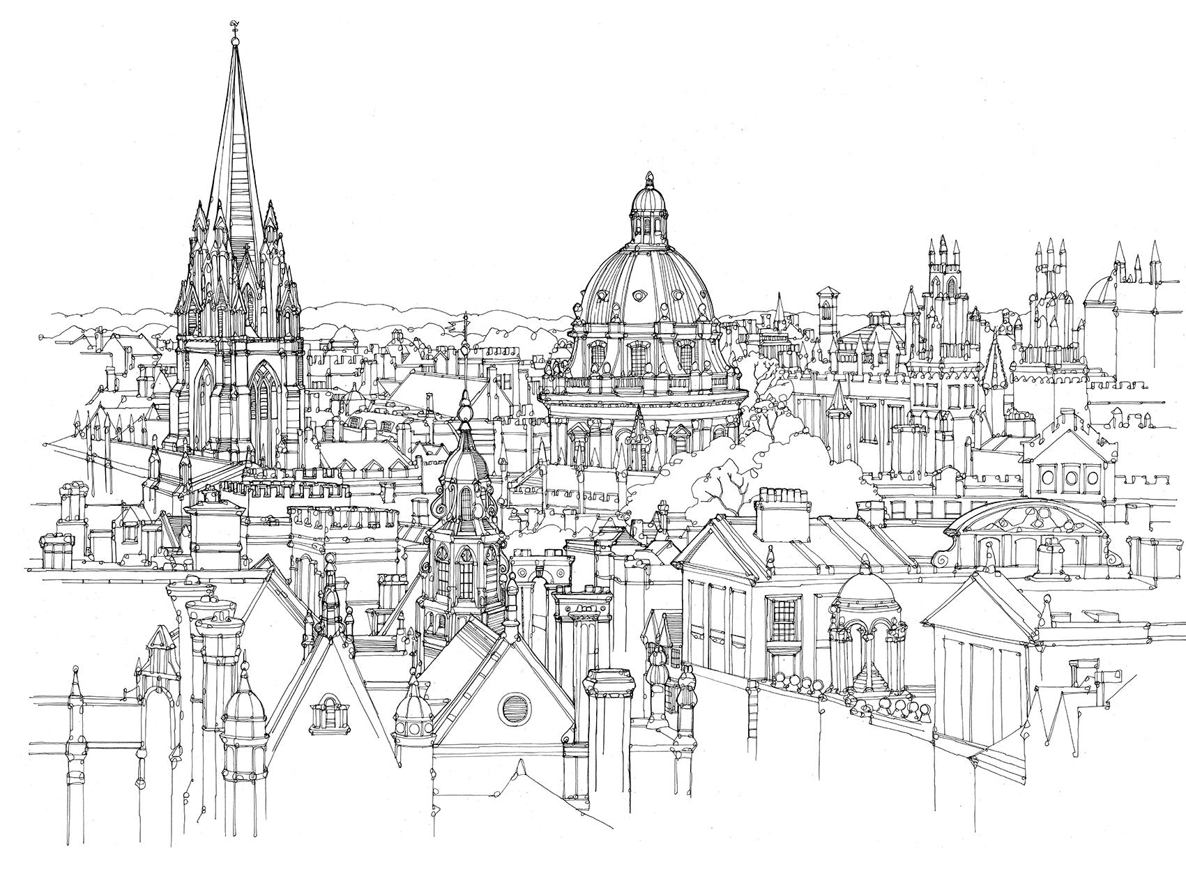 Drawn skyline city line A Skyline City Reply Leave