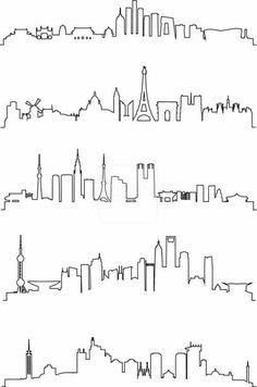 Drawn skyline city line Skylines Art City Download York