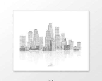 Drawn skyline city line City and Angeles black printable